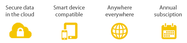 Secure data in the cloud, smart device compatible, anywhere everywhere, annual subscription